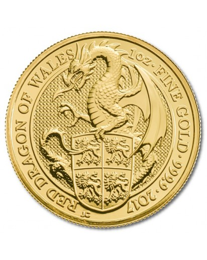 GB 2017   Queens Beast  Red Dragon - Roter Drache von Wales Gold 1 oz