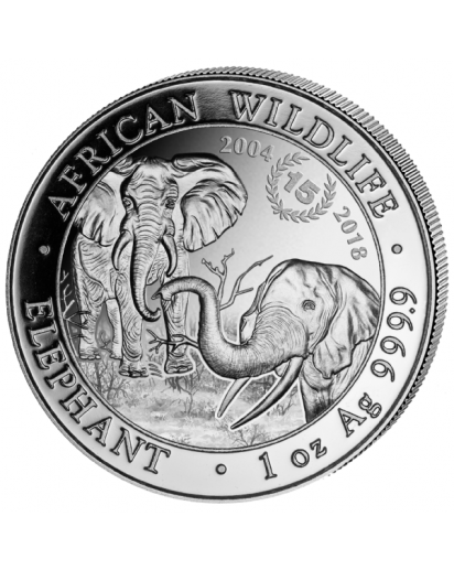 Somalia 2018   Elefant  15 JAHRE JUBILÄUM 1 oz Silber