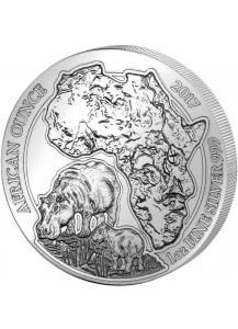 Ruanda 2017 Flusspferd 1 oz Silber