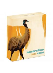 Australien 2018  EMU  Silber Poliert Platte PP 1 oz