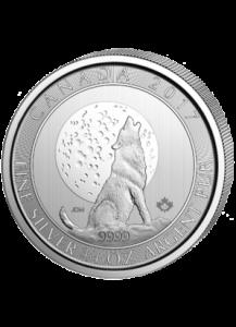 Canada 2017 Wolf mit Mond  - Grauwolf  Silber 3/4 oz