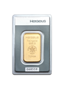 GOLDBARREN 1 oz Heraeus im Blister