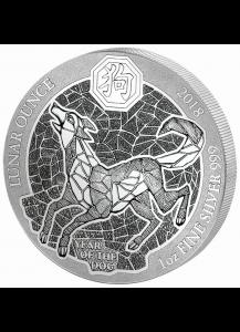 Ruanda 2018 Jahr des Hundes Lunar-Serie 1 oz Silber
