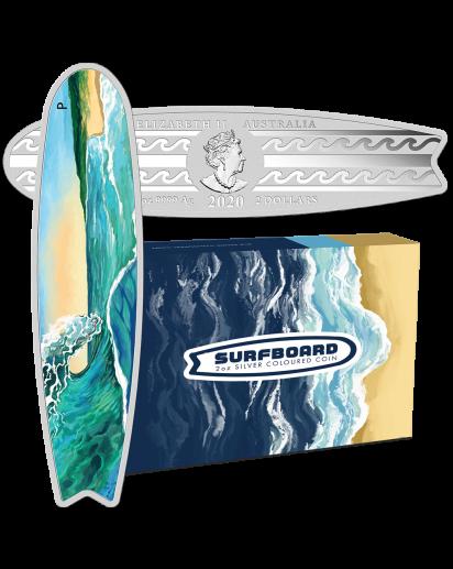 Australien 2020  Surfbrett  Silber 2 oz