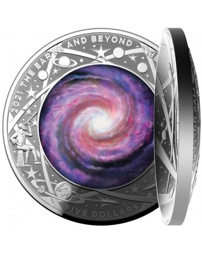 Australien 2021 Die Milchstraße - Earth and Beyond Serie Silber gewölbte Prägung Farbe