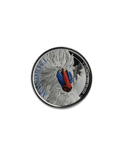 Kamerun 2020  Cameroon Mandrill Silber 1 oz  PP mit Farbe