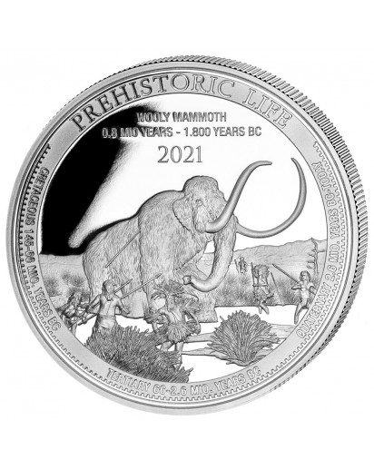 Kongo  2021 WOLLMAMMUT - Dinosaurier  Silber 1 oz  Congo