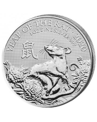 UK 2020 Lunar Jahr der Maus - Ratte  1 oz Silber GB