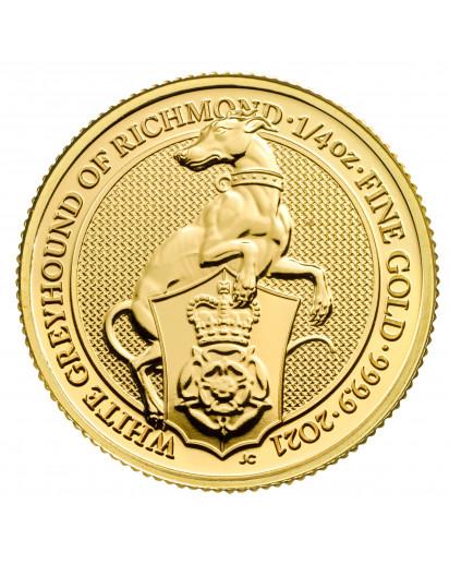 GB 2021   Queens Beast  White Greyhound  Gold 1/4 oz