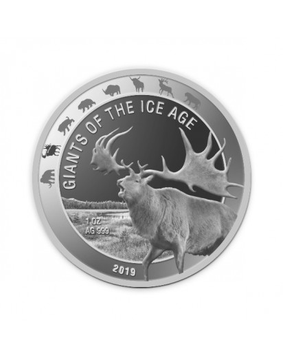 Ghana 2019  Riesenhirsch  -  Giants of the Ice Age  Silber 1 oz