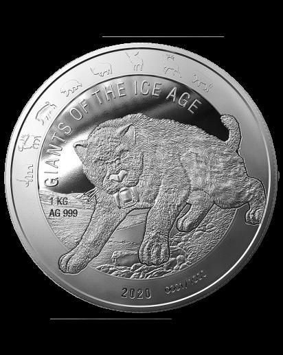 Ghana 2020  Säbelzahnkatze - Giants of the Ice Age  Silber 1 Kilo