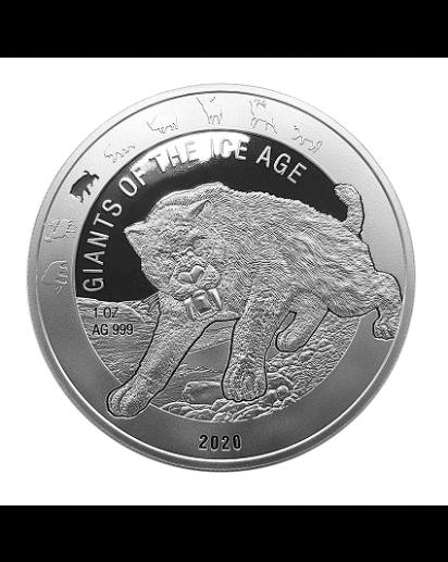 Ghana 2020 Säbelzahnkatze  -  Giants of the Ice Age  Silber 1 oz