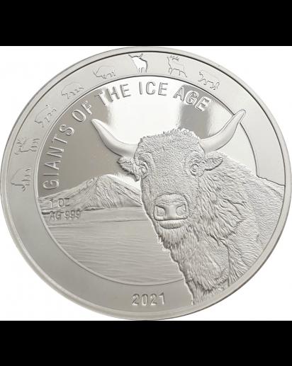 Ghana 2021 Auerochse  -  Giants of the Ice Age  Silber 1 oz