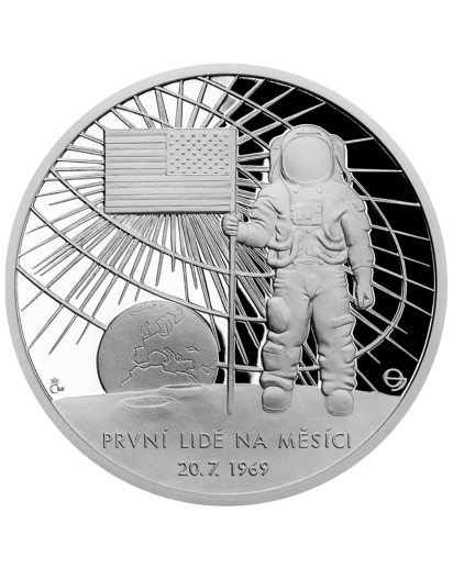 Niue 2019  Erster Mensch auf dem Mond - Serie Sonnensystem Silber 1 oz mit Farbe