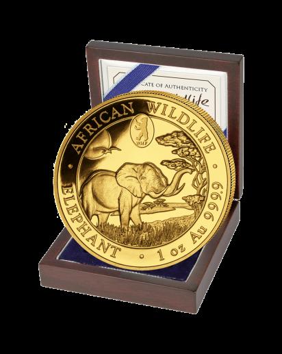 Somalia 2019   Elefant  WMF Privy Mark Berliner Bär  Gold 1 oz