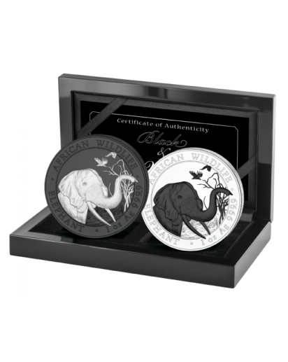 Somalia 2018   Elefant Black & White 2 x 1 oz Silber
