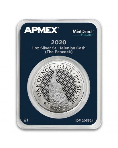 St. Helena 2020  Pfau - Peacock Serie Cash India Wildlife Silber 1 oz  MintDirect Premier
