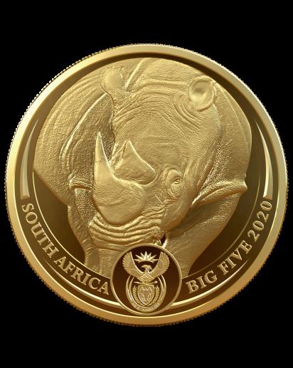 Südafrika 2020  BIG FIVE - NASHORN Gold 1 oz polierte Platte