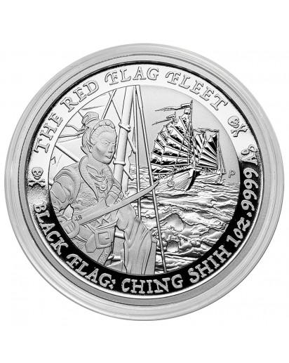 Tuvalu 2021  Black Flag  The Red Flag Fleet  Piratenschiff Silber 1 oz