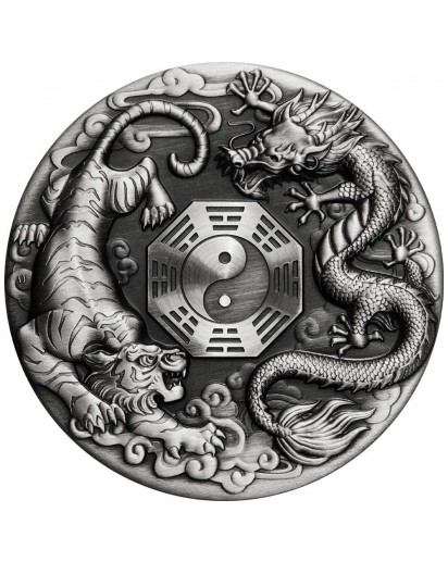 Tuvalu 2021 DRAGON AND TIGER - chinesische Fabelwesen Silber 2 oz - Antik Finish