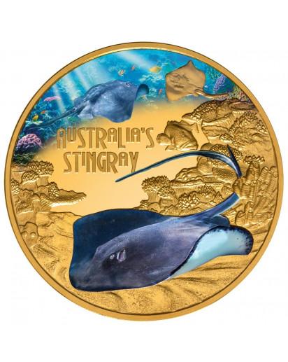 Tuvalu 2021 Stachelrochen - Stingray    Serie: Deadly & Dangerous Gold 1 oz - polierte Platte