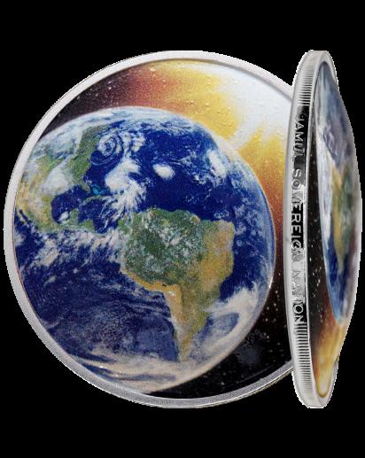 USA 2021  Sonnensystem ERDE - Silber 1 oz  Farbe gewölbt