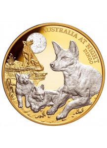 Niue 2021  DINGO Serie: Australien bei Nacht Gold mit Platin 1 oz