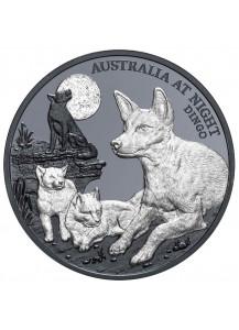 Niue 2021  DINGO  Serie: Australien bei Nacht Silber 1 oz  Black Proof