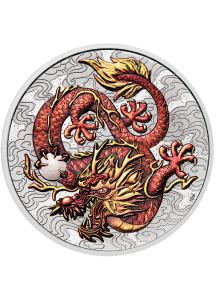 Australien 2021  Myths & Legends: Dragon   1 $ Silber 1 oz  Drachen Serie  FARBE