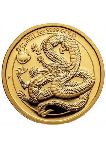 Australien 2021 Goldener Drache - Serie Chinesische Fabelwesen  Gold 1 oz