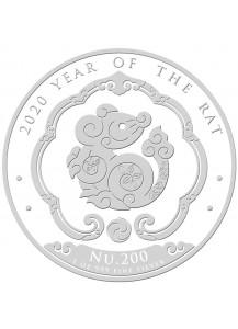 Bhutan 2020  Lunar Ratte - Maus Silber 1 oz