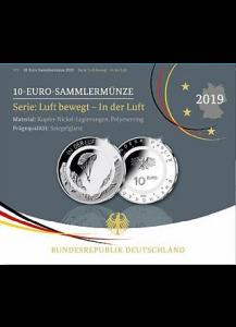 BRD 2019  IN DER LUFT - J = Hamburg  polierte Platte PP- mit transparentem Polymerring