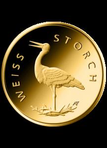 BRD 2020   WEISSSTORCH - Storch  Serie: Heimische Vögel 20 € Goldmünze F = Stuttgart