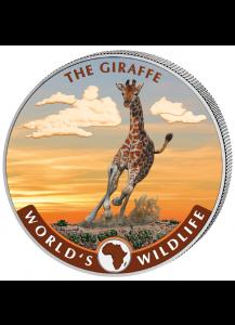 Congo 2019   GIRAFFE - World`s Wildlife Serie Silber FARBE 1 oz - Kongo