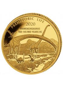 Kongo  2020 Mamenchisaurus - Dinosaurier  Gold 0,5 g   Congo