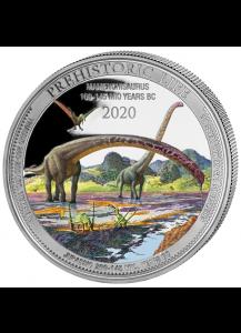Kongo  2020 Mamenchisaurus - Dinosaurier FARBE Silber 1 oz    Congo