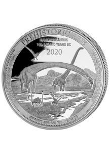 Kongo  2020 Mamenchisaurus - Dinosaurier  Silber 1 oz    Congo