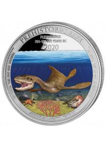 Kongo  2020 Plesiosaurus - Dinosaurier  Silber 1 oz  FARBE  Congo