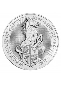 GB 2021   Queens Beast  The White Horse of Hannover  Silber 10 oz