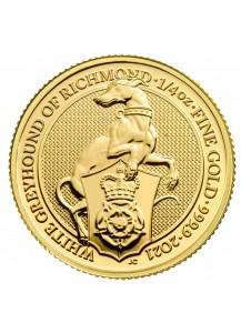GB 2021   Queens Beast  White Greyhound  Gold 1/4 oz