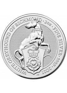 GB 2021   Queens Beast  White Greyhound  Silber 2 oz