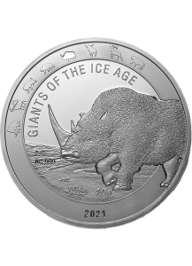 Ghana 2021 Wollnashorn  -  Giants of the Ice Age  Silber 1 oz