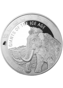 Ghana 2019  Wollmammut - Giants of the Ice Age  Silber 1 Kilo