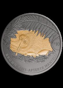 Neuseeland 2021  Brauner Kiwi  Silber 5 oz Black Nickel - vergoldet