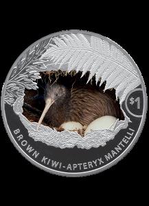 Neuseeland 2021  Brauner Kiwi  Silber 1 oz Farbe - polierte Platte