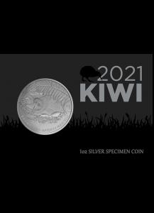 Neuseeland 2021  Brauner Kiwi  Silber 1 oz im Blister