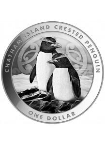 Neuseeland 2020  Chatham Island Crested Penguin - Schopfpinguin  Silber 1 oz