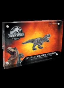 Niue 2021  JURASSIC WORLD T-Rex Shaped Antique Finish  Silber 2 oz
