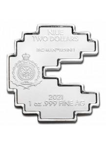 Niue 2021   PAC MAN SHAPED  Silber 1 oz