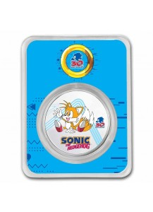 Niue 2021 Sonic - TAILS  Silber 1 oz FARBE + BLISTER